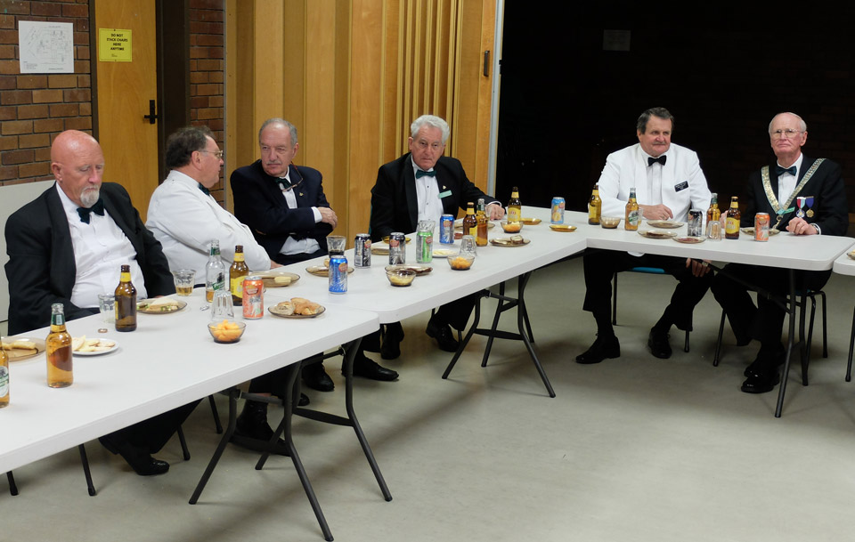 Duke of Leinster members with RWBro Barry Fry, AGSW District 4. (Second from right), WBro Barry Wesphal WM(far right).